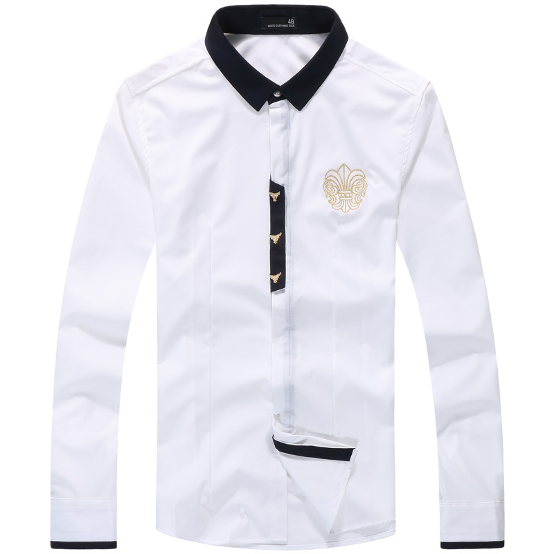 89bad49610097 Buy Contrast Collar Embroidery Mens Designer Shirts Long Sleeve Signature  at Chest Camisas Hombre Fashion 2015 Autumn Mens Clothing in Cheap Price on  ...