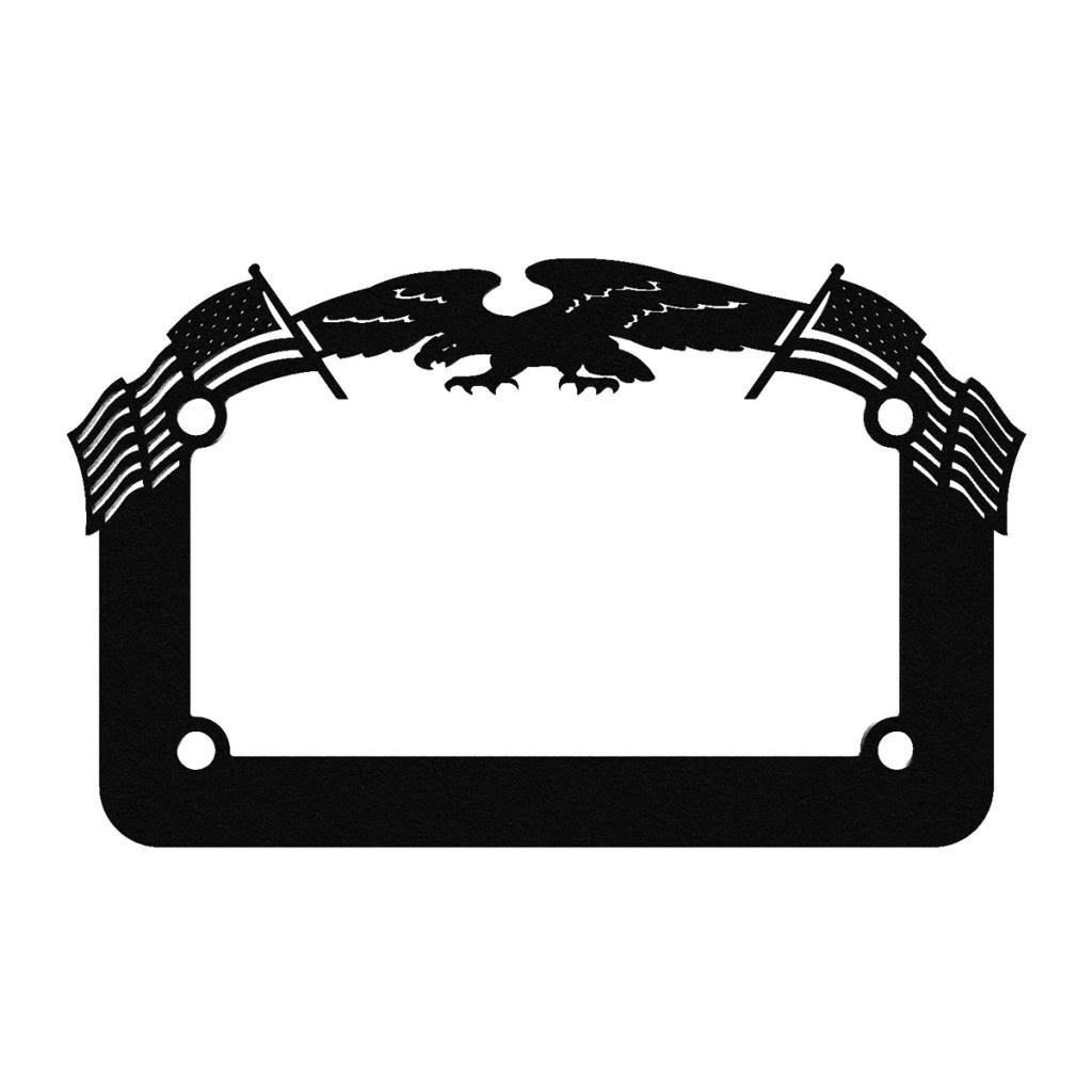 Ferreus Industries Black Powdercoat Motorcycle License Plate Frame Eagle American Flag Eagle - 1 Piece LIC-119-Black