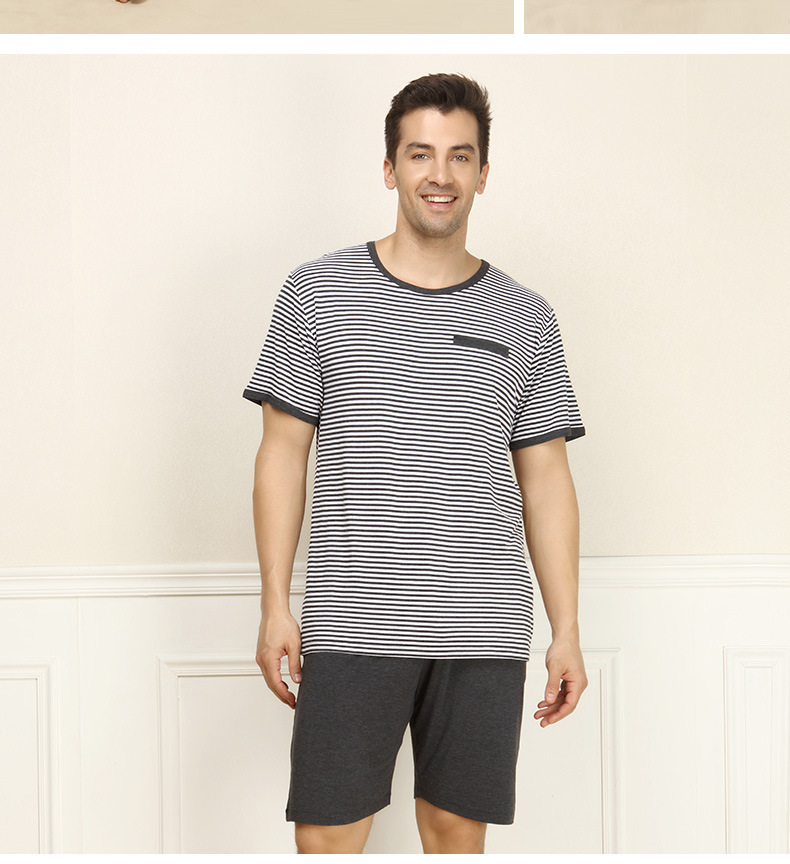 80ecc012a5 Get Quotations · 2015 Brand Men s Summer striped Pajamas sets soft O-neck  shirt   half pants Modal
