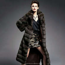 Deluxe and trendy real wild sable fur long style coat for ladies