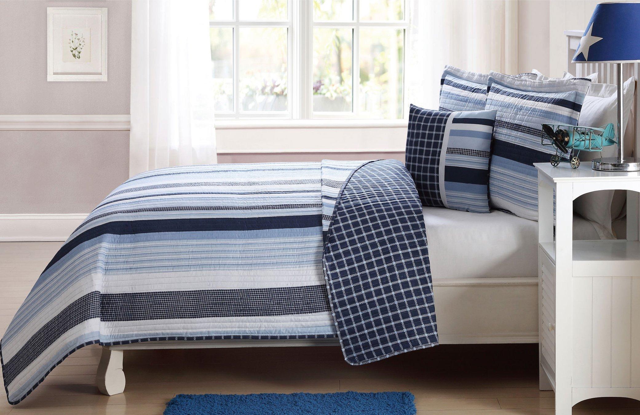 Fancy Linen 4 Pc Full Size Bedspread Coverlet Reversible Elegant Stripes Blue White New # Elegant Stripe
