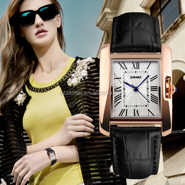 High quality quartz movement leather band hand watch women