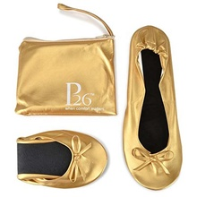 Women's Foldable shoes Portable Travel Ballet Flat Shoes Matching Carrying Case