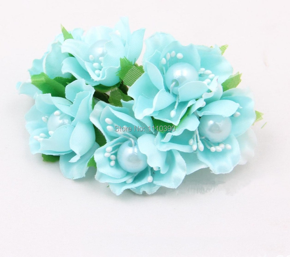 Buy 72pcs Korean Silk Flower Bouquetsplum Cherry Blossom With Pearl