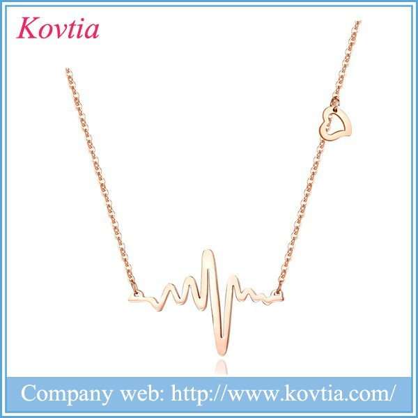 Wave band pendant necklace broken heart necklace designers fashion 18k gold necklace