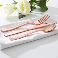 Heavy Duty Rose Gold Plastic Cutlery Set Disposable Rose Gold Silverware for Party,Wedding and Everyday use