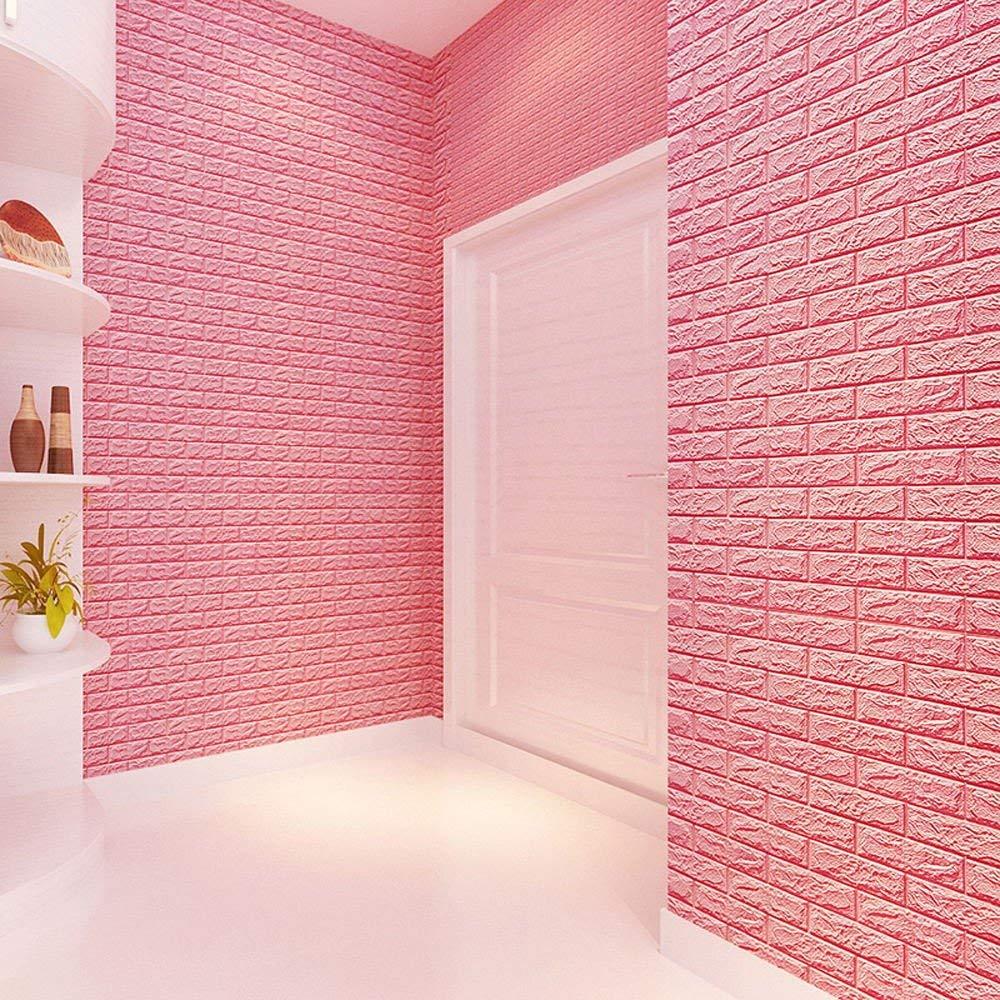HOT Sale!! BingYELH 3D Brick Wall Panels,PE Foam 3D Wallpaper Wall Paper Brick DIY Wall Stickers Wall Decor Embossed Brick Stone Background TV Decor (Pink)