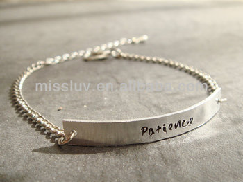 Custom Logo Pendant Charm Bracelet Personalized Word Engraved Metal Chain With Patience Inspire