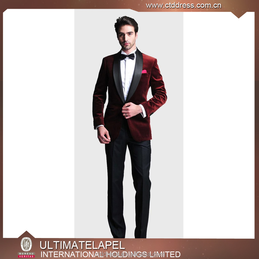 New style slim fit red tuxedo velvet suits designs velvet coat men