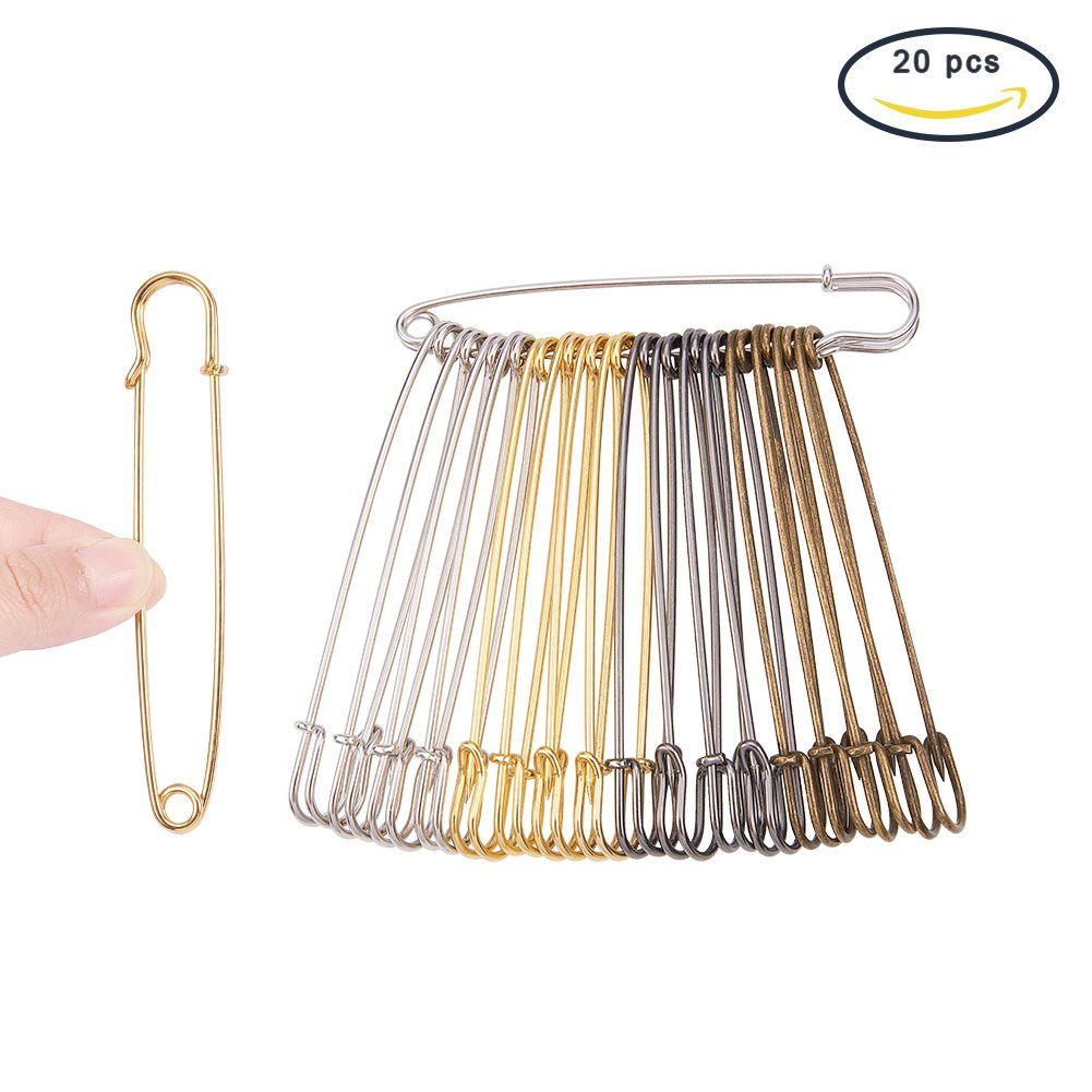 20 Count Extra Large Heavy Duty Safety Pins for Blankets Skirts Kilts Knitted Fabric Crafts DIY Craft Making Heavy Duty Safety Pins Large Silver 3 Size