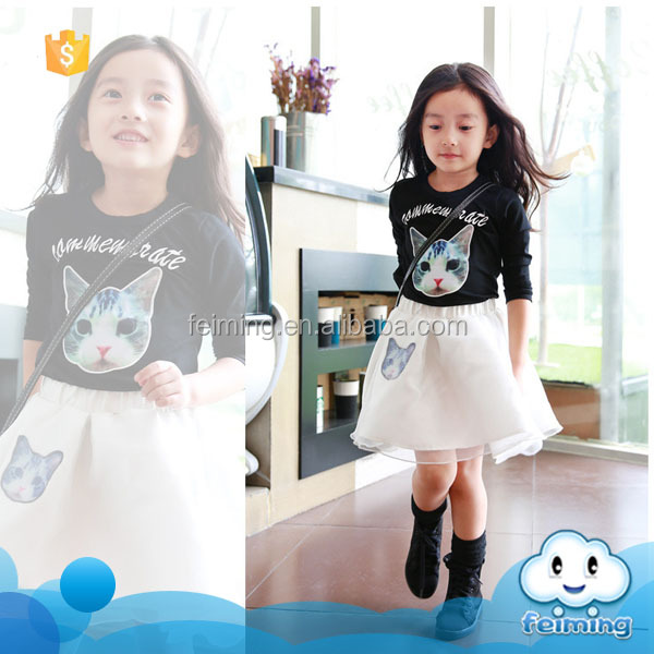 2015 long sleeve new style high quality 2 pieces set kids clothes girl dress clothing set