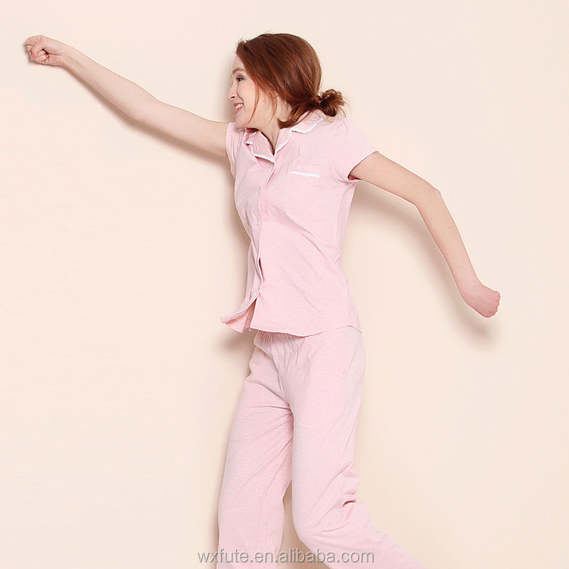 b465b260d20a Ladies Sleepwear Sets Pajamas Cotton Women s Button Up Pajama Sets ...
