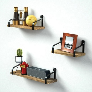 Floating Shelves Wall Mounted Set of 3 DIY creative floating rustic wood shelf metal wall shelves for Bedroom, Living Room
