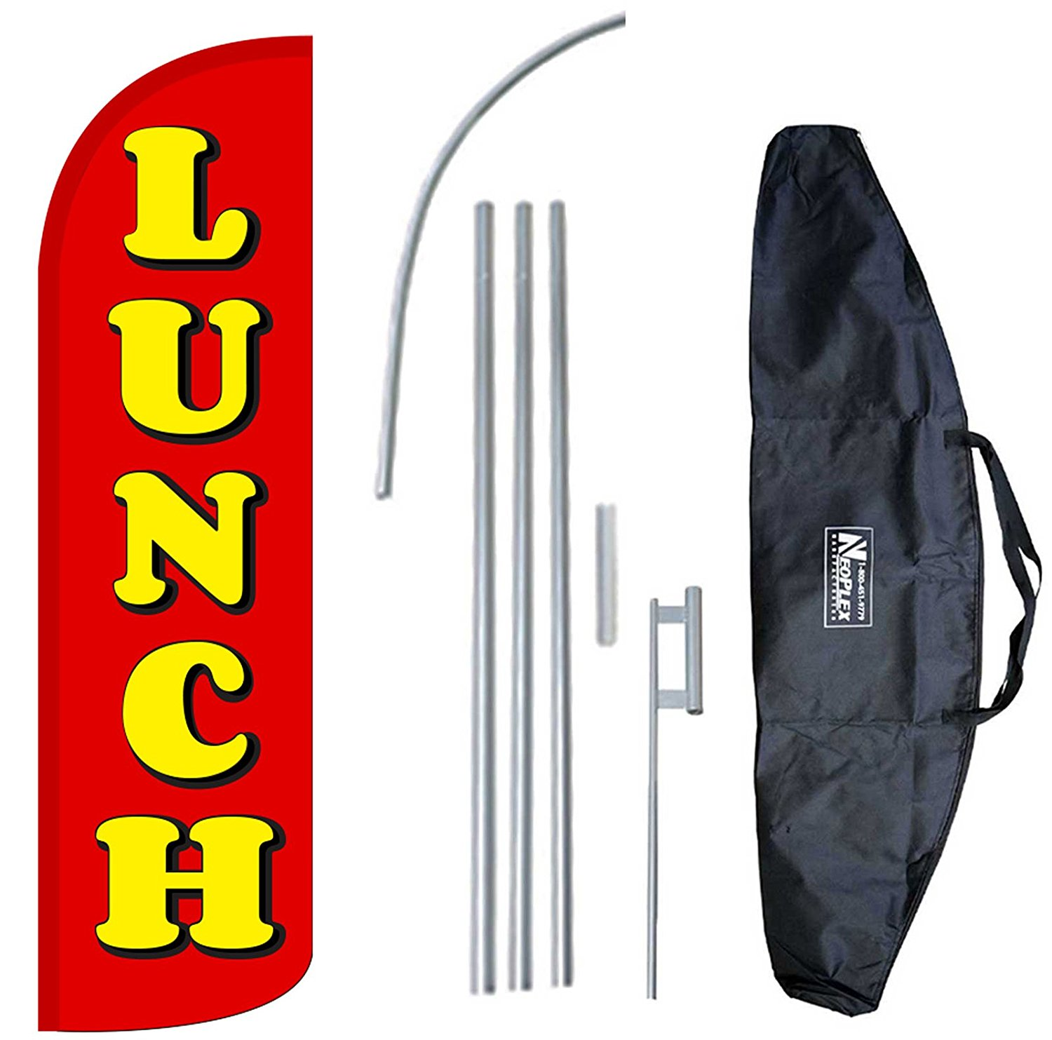 """LUNCH"" 12-foot KING SIZE Complete Swooper Feather Flag and Case Set...includes 12-foot Flag, 15-foot Pole, Ground Spike, and Carrying/Storage Case"