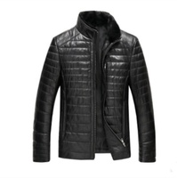 Ready to ship Fast supply mens sheep leather Winter warm down jacket