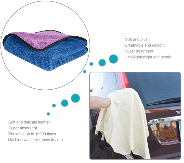 Sunland high quality microfiber cleaning cloth polish towel for car