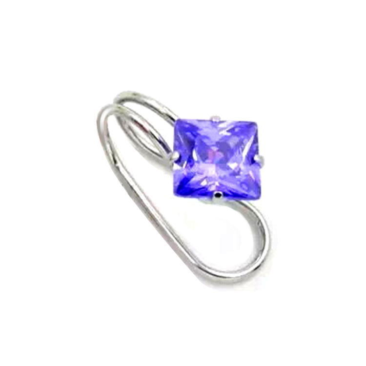 Customized Fashion Surgical Steel Star Cubic Zirconia Earring Clip, Purple;clear;red