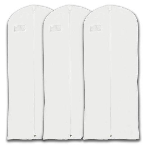 """Hangerworld white Breathable 60"""" Suit or Dress Garment Bag - Secret Internal Zipped Pocket, Pack of 3"""