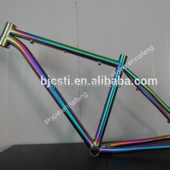 Delightful 2017 Hot Sale Rainbow Titanium Mountain Bike/ Road Bike Frame