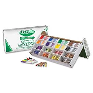 Wholesale CASE of 5 - Crayola Large Crayon & Washable Marker Classpack-Crayons/Marker Combo,Washable,128 Crayons,128 Markers,Asst.