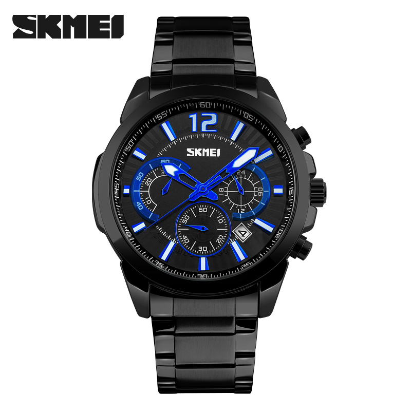 SKMEI Day/<strong>Date</strong>,Chronograph stainless steel back watches men #9108