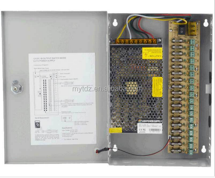 InstallerCCTV 18 Output 29 Amp 12V DC CCTV Distributed Power Supply Box for Security Camera