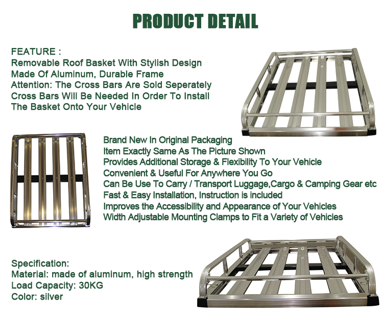 Universal High Quality Aluminum Car Roof Rack Basket