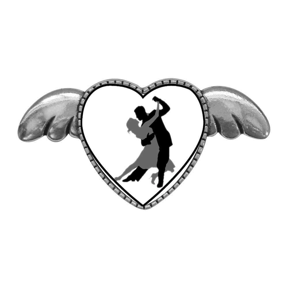 GiftJewelryShop Bronze Retro Style Dance themes Tango Dancer Photo Stud Heart Earrings #12