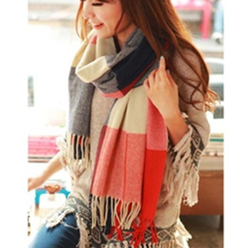 Autumn Winter Female Wool Plaid Scarf Women Scarf Cashmere Wide Lattice Long Shawl Warm scarf