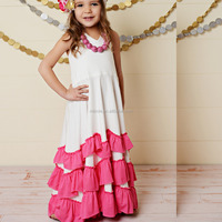 New Fashion Sweet Flower Girls White & Pink Ruffle Tiered Halter Dress for Toddler & Girls Wedding Cotton Knit Soft Dresses