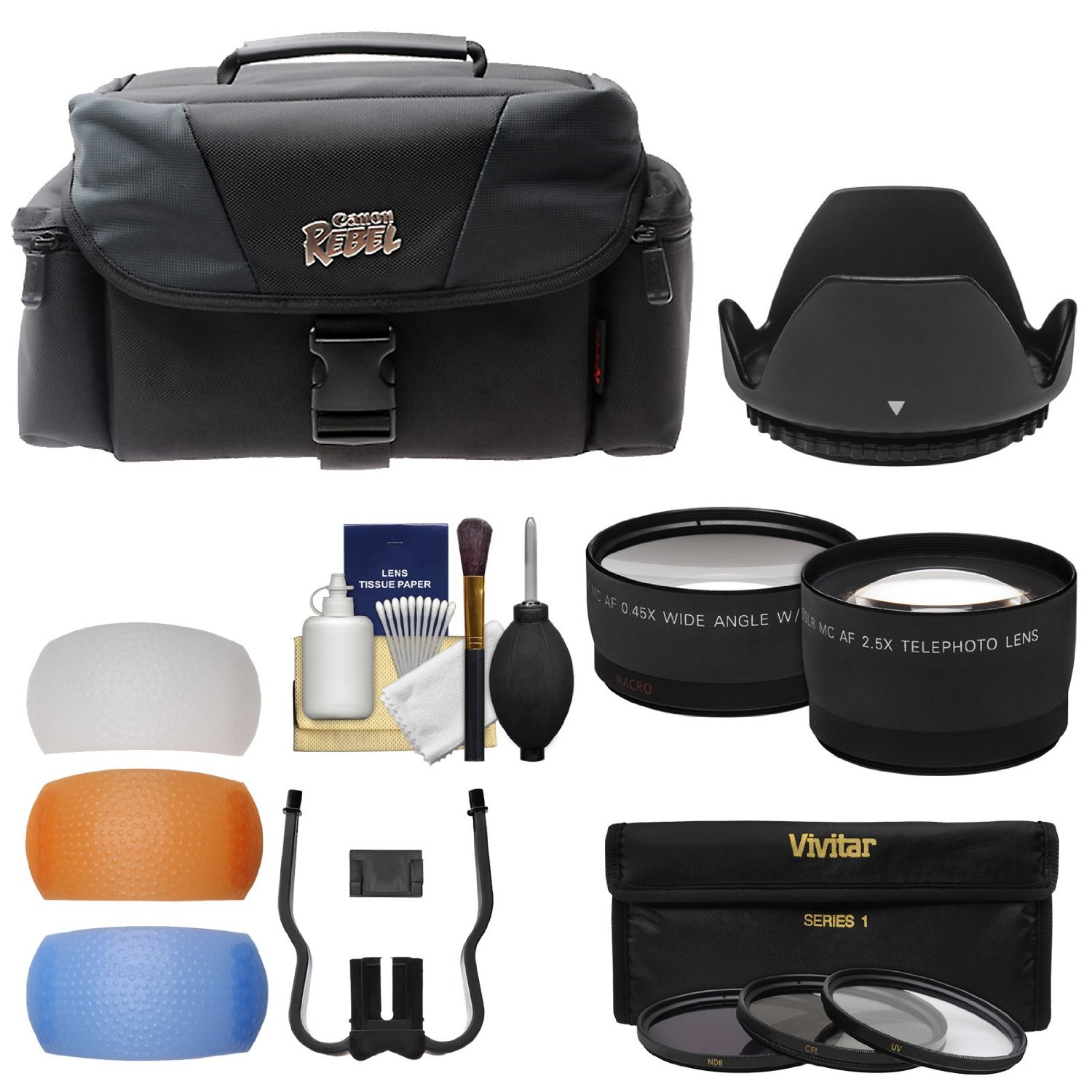 Canon Rebel Digital SLR Camera Case with Tele/Wide Lenses + 3 Filters + Flash Diffusers Kit for EOS Rebel T3, T3i, T5, T5i, T6i, T6s