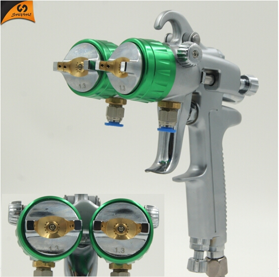 Most popular Double nozzle spray gun ningbo air tools new patent products spray gun for Water transfer printing