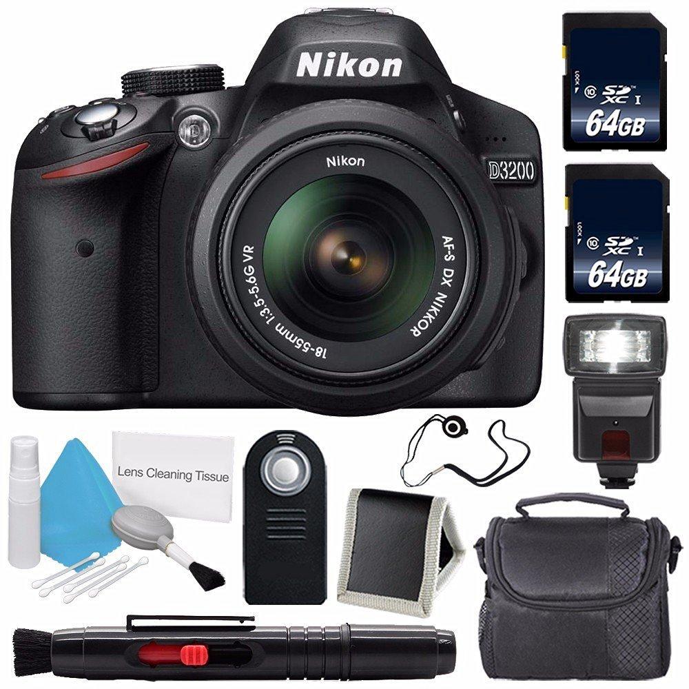 Nikon D3200 Digital Camera w/ 18-55 VR II Lens (International Model No Warranty) + 64GB SDXC Class 10 Memory Card + External Flash Bundle 57