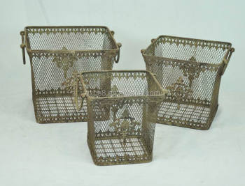 French Country Outdoor Garden Whole Wire Baskets
