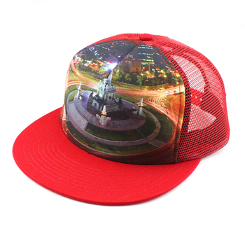 Custom Cheap Print 5 Panel Red Trucker Cap 420a7b6606b