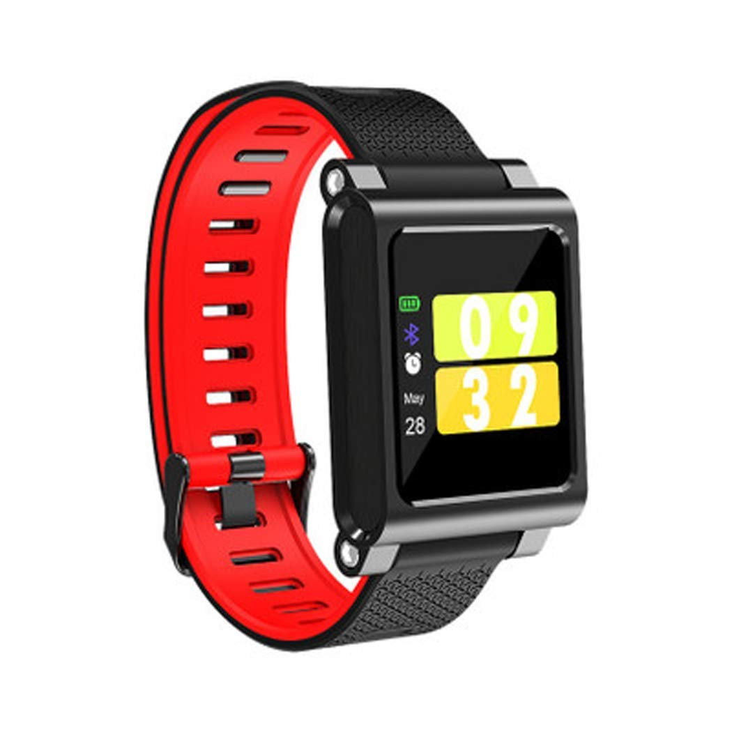 YWY Smart Bracelet Information Push Multiple Sports Mode Sleep Monitoring Fitness Watch Color Screen Bluetooth Smart Watch (Color : Red)