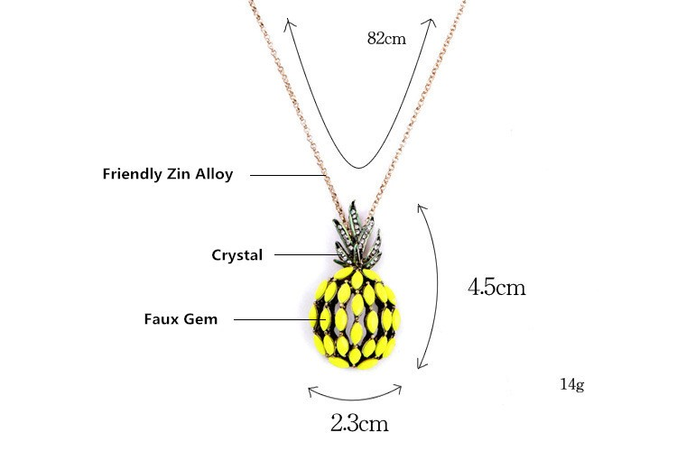 2016 New Design Fruits Pattern Pineapple Pendant Necklace