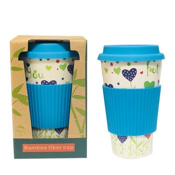Biodegradable Bamboo Fibre Eco Travel Mug, Water Tumbler, Tea Coffee Cup, 400 ml