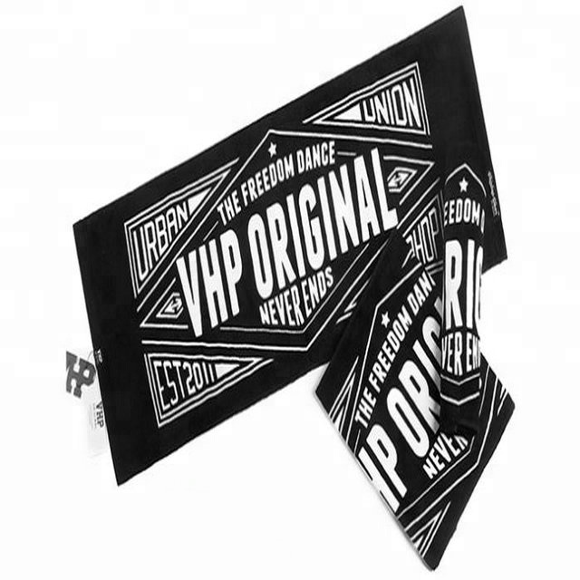 china supplier logo printed black sports gym advertising cotton towel