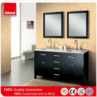 black solid wood classic design bathroom unit with marble countertop