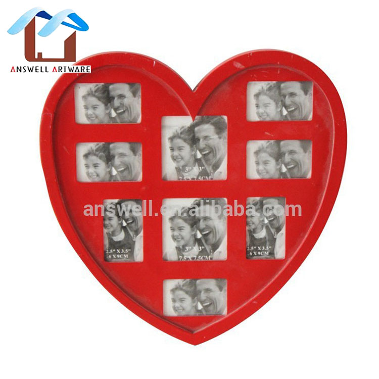 Wholesale Wooden Heart Shaped Combined Photo Picture Frame