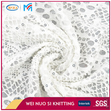 High grade manufacturer knit soft tulle bridal fabric with sequins