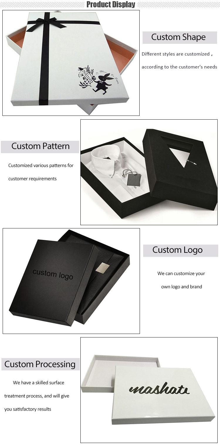 Custom Black Clothing Box Top And Bottom Lid Gift Paper Packing Box For Clothing