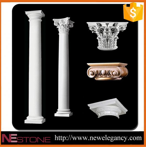 Well polished natural wholesale antique fluted granite stone gate pillar