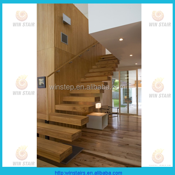 Wooden Tread Staircase /wood Folding Stairs / Build Floating Stair