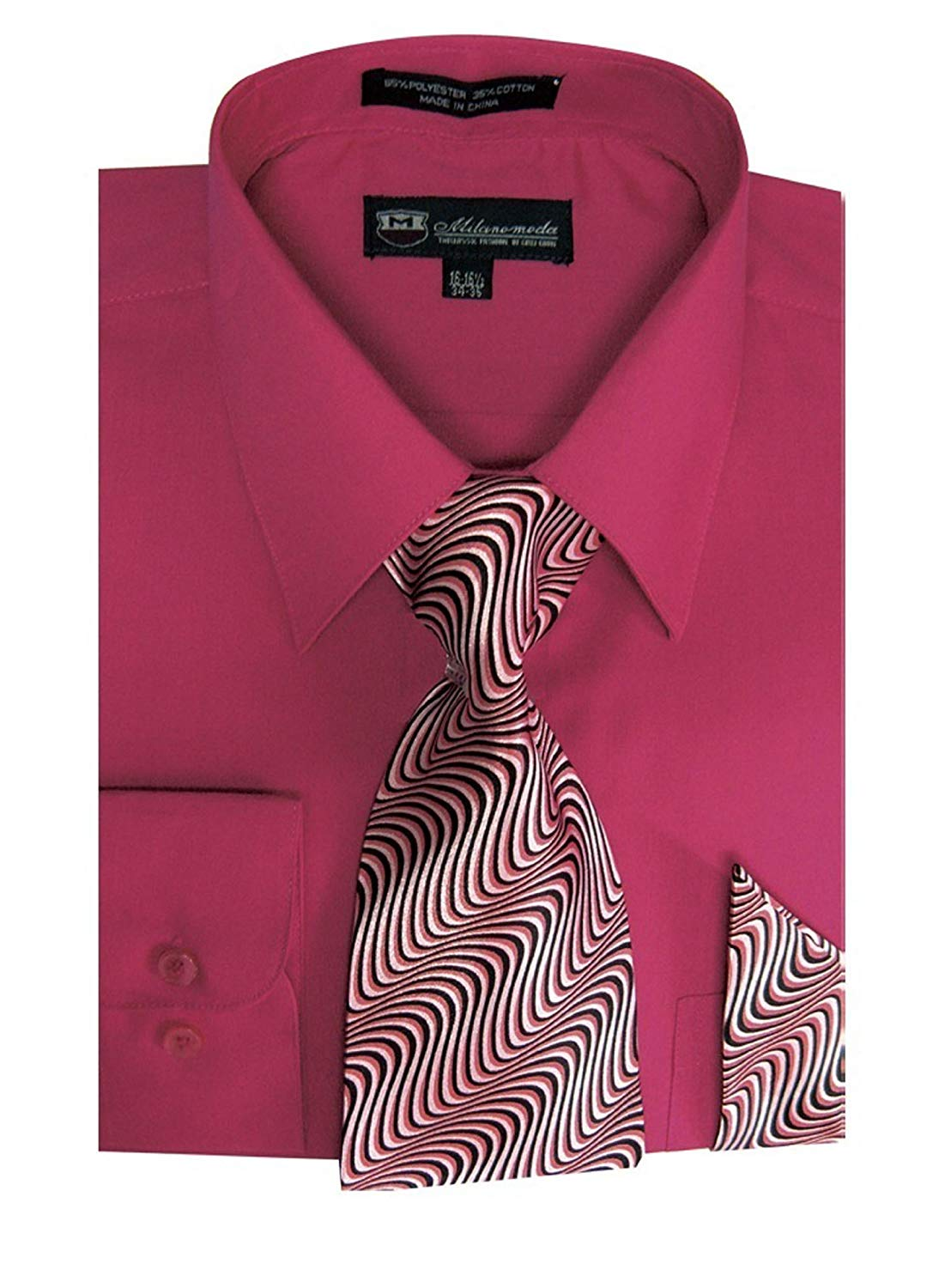 fd8b082d2 Get Quotations · Milano Moda Men's Long Sleeve Dress Shirt With Matching Tie  And Handkerchief SG21A