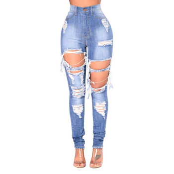 New Design Lady Girls Sex Ripped Blue Hole Mom Jeans High