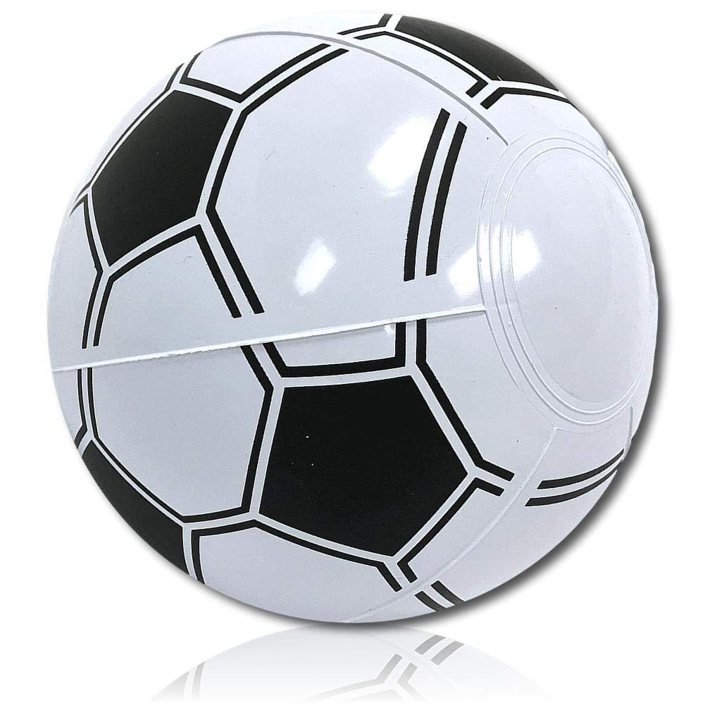 "ULTRA Durable & Custom {6"" Inch} One Single Small-Size Inflatable Beach Ball for Summer Fun, Made of Lightweight FLEX-Resin Plastic w/ Athletic Sports Game Soccer Ball Player Style {Black & White}"