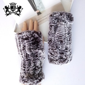 special design fashion girls fingerless knitted mittens super soft fur rabbit gloves