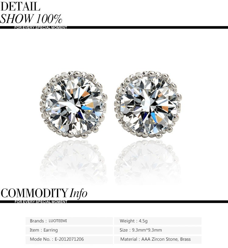 LUOTEEMI Aliexpress Hot Sale 8mm 2ct Top Quality Spakling Clear CZ Crown Design Women Daily Wear Cheap Stud Wholesale Earrings